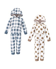 Baby Toddler Girls and Boys Little Bear Fleece Coveralls and Playsuits Jumpsuits, Pack of 2