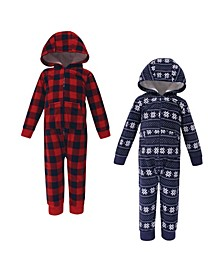 Baby Toddler Girls and Boys Sweater Plaid Fleece Coveralls and Playsuits Jumpsuits, Pack of 2