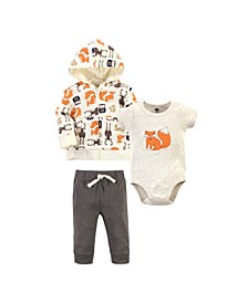 Baby Boys Forest Hoodie, Bodysuit or Tee Top and Pant Set, Pack of 3
