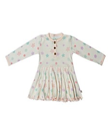 Baby Girls Snowflakes Three Button Dress
