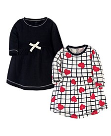 Toddler Girls Heart Long-Sleeve Dresses, Pack of 2