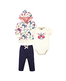 Baby Girls and Boys Bright Butterflies Hoodie, Bodysuit or Tee Top and Pant, Pack of 3