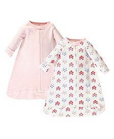 Baby Girls Floral Dot Long-Sleeve Wearable Sleeping Bag Sack, Pack of 2