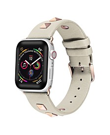 Men's and Women's Apple White Studded Leather Replacement Band 44mm