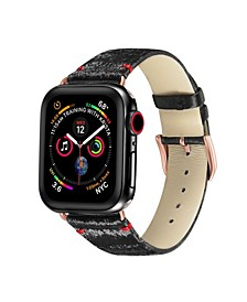 Men's and Women's Apple Black with Rose Gold Silk Leather Replacement Band 44mm