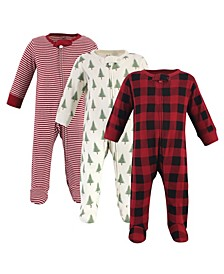 Baby Girls and Boys Tree Plaid Sleep and Play, Pack of 3