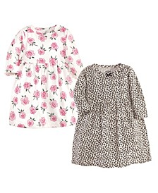 Toddler Girls Leopard Rose Dresses, Pack of 2