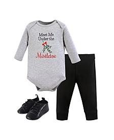 Baby Girls and Boys Mistletoe Bodysuit, Pant and Shoe Set, Pack of 3