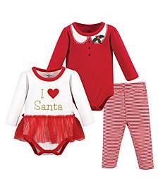 Baby Girls Heart Santa Bodysuit and Pant Set, Pack of 3
