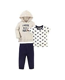 Toddler Boys Moose Hug Hoodie, Bodysuit or Tee Top and Pant Set, Pack of 3