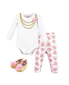 Baby Girls Gold-Tone Roses Bodysuit, Pant and Shoe Set, Pack of 3