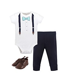 Baby Boys Mint Stripe Bow Tie Bodysuit, Pant and Shoe Set, Pack of 3