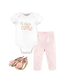 Baby Girls and Boys Stinkin Cute Bodysuit, Pant and Shoe Set, Pack of 3