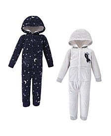 Toddler Girls and Boys Spaceship Yoga Sprout Hooded Fleece Jumpsuits, Pack of 2