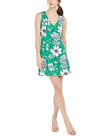Petite Floral-Print V-Neck Dress