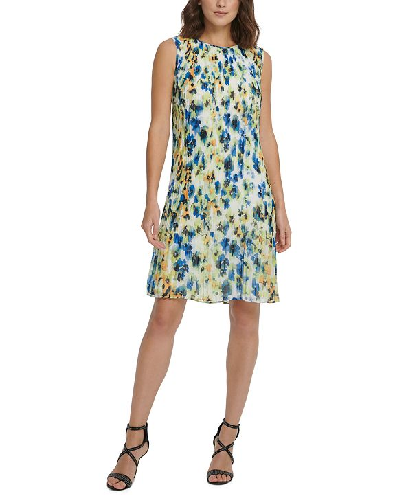 DKNY Printed Pleated Chiffon Shift Dress