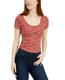 Juniors' Printed Button-Trimmed Waffle-Knit Top