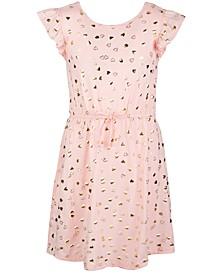 Big Girls Short Flutter Sleeve Cinched Tie Waist Dress