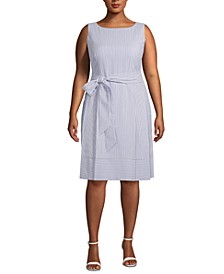 Plus Size Seersucker A-Line Dress