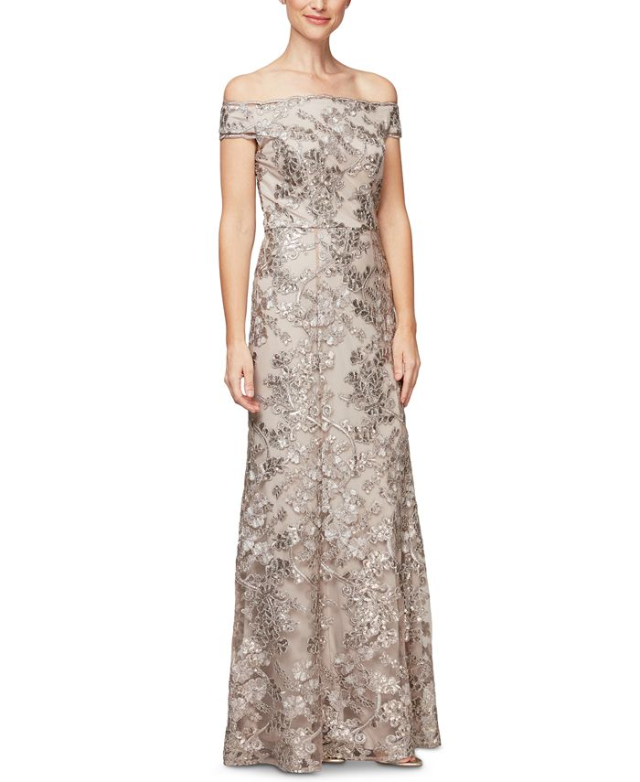 Alex Evenings - Embroidered Off-The-Shoulder Gown