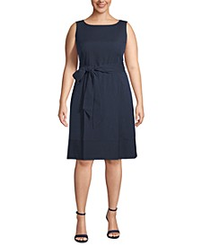 Plus Size Seersucker Belted Dress