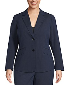 Plus Size Seersucker 2-Button Blazer