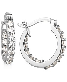 """Small Cubic Zirconia In & Out Hoop Earrings in Sterling Silver, 0.74"""", Created for Macy's"""