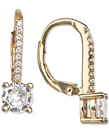 Cubic Zirconia Leverback Drop Earrings in 18k Gold-Plated Sterling Silver, Created for Macy's
