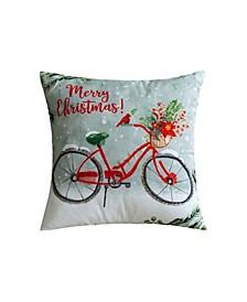 "Christmas Bike Decorative Pillow, 16"" x 12"""