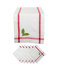 Embroidery Holly Corner with Border Table Runner and Napkin, Set of 2