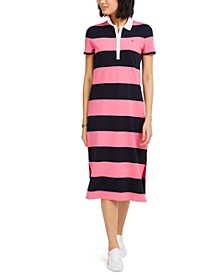 Striped Polo-Neck Dress
