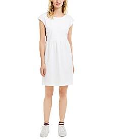 Eyelet-Embroidered Side-Striped Dress