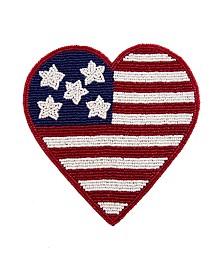 Beaded Flag Heart Trivet