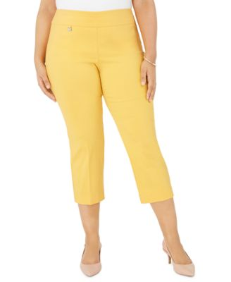 Trendy new womens stretch capri 3//4 trousers Silver splash design size 16-26