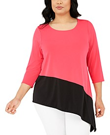 Plus Size Colorblock Asymmetric Top, Created For Macy's