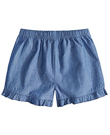Toddler Girls Cotton Chambray Ruffle Shorts, Created for Macy's