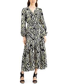 Zebra-Print Maxi Wrap Dress, Created for Macy's