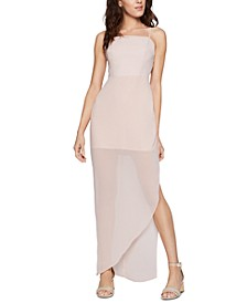 Strappy Asymmetrical Satin Dress