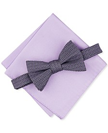 Men's 2-Pc. Pre-Tied Geo Bow Tie & Solid Pocket Square Set, Created for Macy's