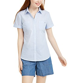 Striped Button-Down Camp Shirt, Created for Macy's