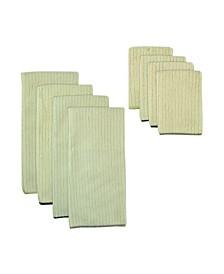 Assorted Natural Trim Microfiber Dishtowel, Set of 8