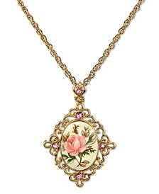 "Gold Tone Ivory Color Floral Decal Crystal Accent Pendant 16"" Adjustable Necklace"