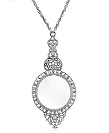 """Silver Tone Crystal Filigree Magnifying Glass 30"""" Necklace"""