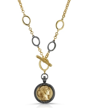 A beautiful toggle black gold-tone necklace features a 2 toned cameo pendant and large link details for a unique vintage-like design. It will be your classic go-to accessory for years to come. It\\\'s a timeless cameo necklace.