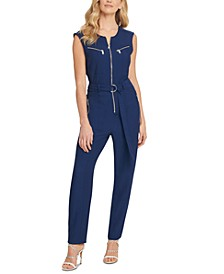 Belted Zip-Front Jumpsuit