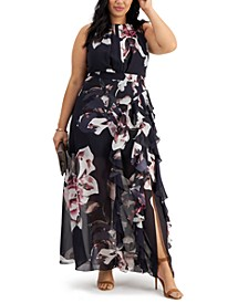 Plus Size Printed Chiffon Gown