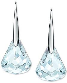 Silver-Tone Faceted Crystal Teardrop Earrings