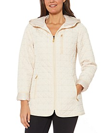 Jones New York Petite Water-Resistant Hooded Quilted Jacket
