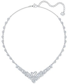 "Silver-Tone Crystal Swan Statement Necklace, 14-7/8"" + 2"" extender"