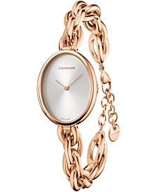 Women's Statement Rose Gold-Tone PVD Stainless Steel Chain Bracelet Watch 27.5x37mm